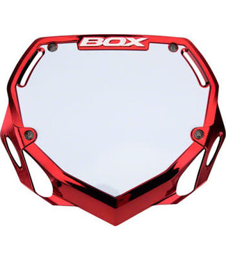 Box Two Number Plate Large Red/Chrome