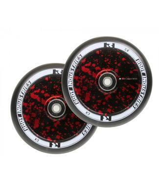 ROOT INDUSTRIES AIR SCOOTER WHEELS BLACK/RED SPLATTER PAIR 110MM