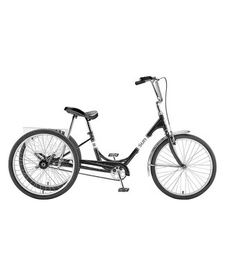 """SUN BICYCLES ADULT 24"""" TRIKE BLACK WITH WHITE BASKET"""