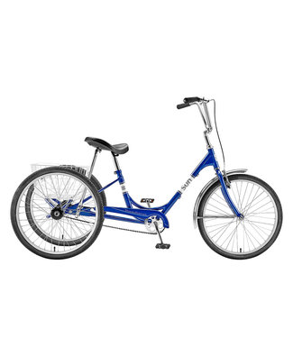 "SUN BICYCLES ADULT 24"" TRIKE BLUE WITH WHITE BASKET"