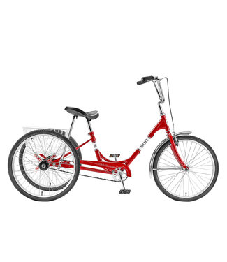 """SUN BICYCLES ADULT 24"""" TRIKE RED WITH WHITE BASKET"""