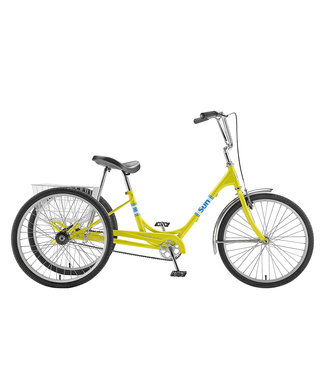 "SUN BICYCLES ADULT 24"" TRIKE YELLOW WITH WHITE BASKET"
