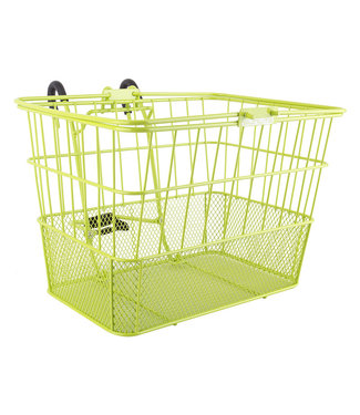 BASKET SUNLT FT WIRE/MESH L/O STD LIME GN w/BRACKET