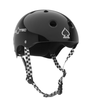 PROTEC HELMET CLASSIC SKATE GLOSS BLACK WITH CHECKER