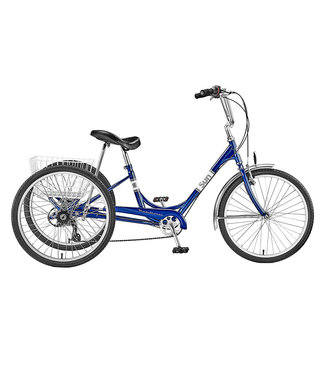 SUN BICYCLES TRIKE  ADULTBLUE 24 7sp  w/WH BASKET