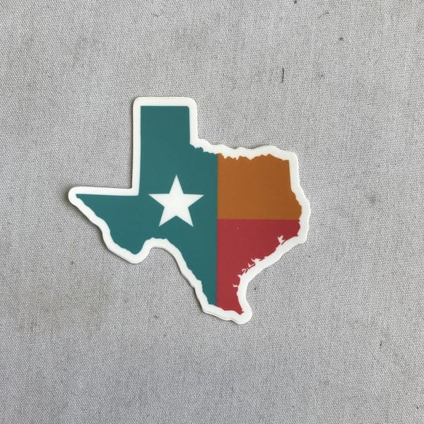 Texas Sticker- Throwback Spurs Colors- 20