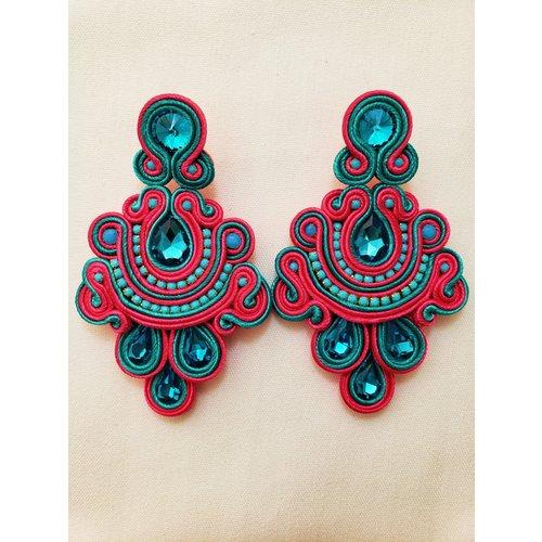 Treasure Jewels Statement Fuchsia/Turquoise Earrings-20