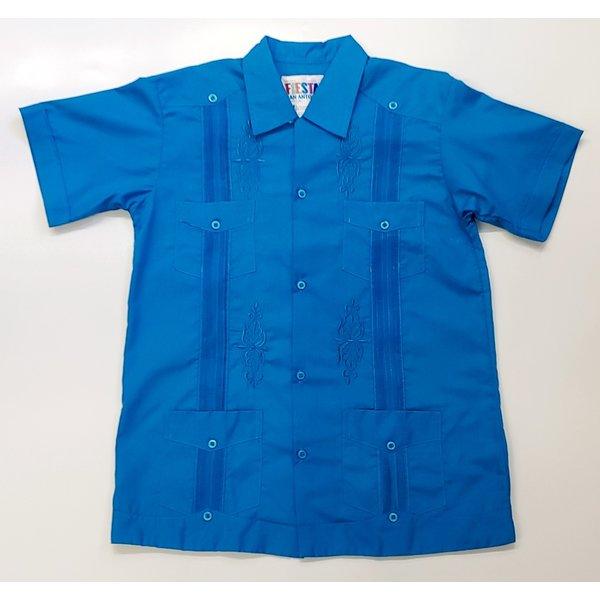 CYAN BLUE -Guayabera -SIZE 10-20