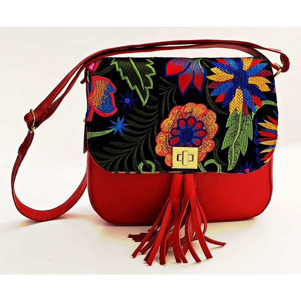 Geniune Leather Red Embroidered Satchel-20