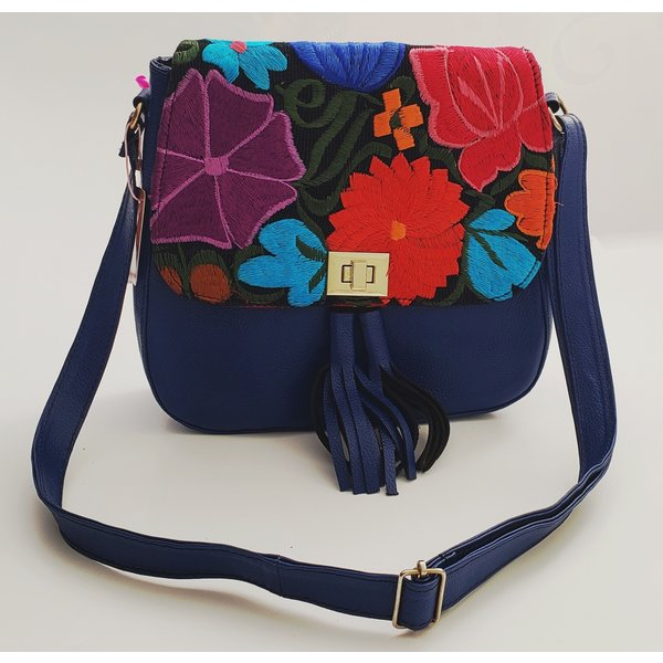 Geniune Leather Blue Embroidered Satchel-20