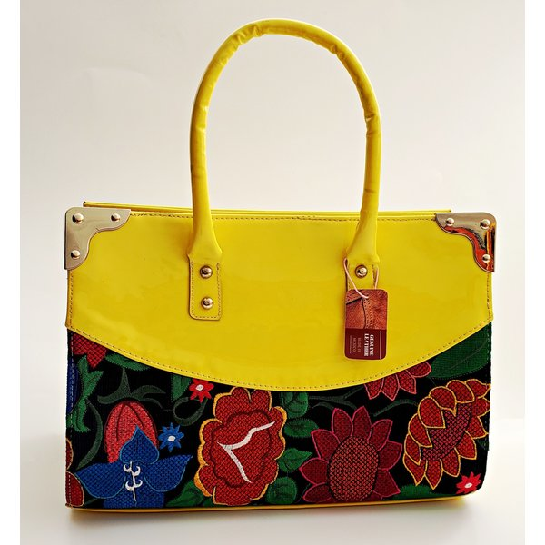 Geniune Leather Yellow Embroidered Purse-20