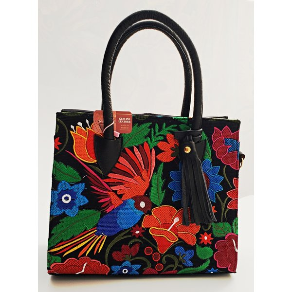 Genuine Leather Mix Flowers Embroidered Purse-20