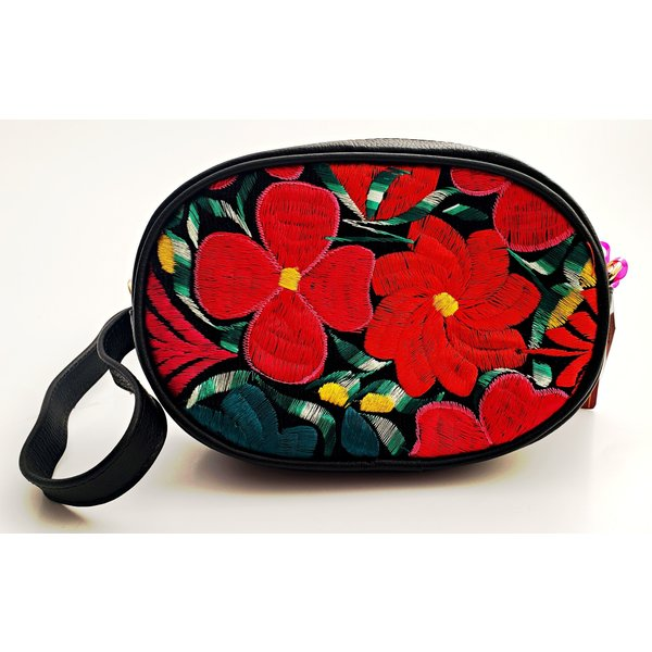 Genuine Leather Black Embroidered Kangaroo Bag-20
