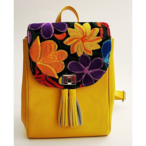 Geniune Leather Yellow Backpack Embroidered-20