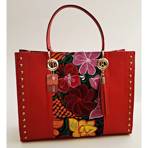 Genuine Leather Red Embroidered Tote -20