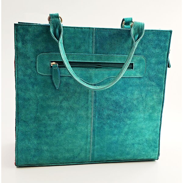 Genuine Aqua Embroidered Tote Bag-20