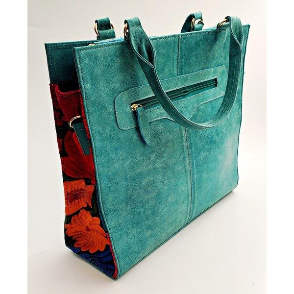 Genuine Aqua Embroidered Tote Bag-20