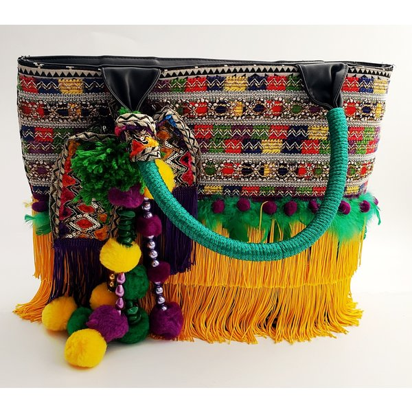Fiesta Fabric Purse With Green Handle -20