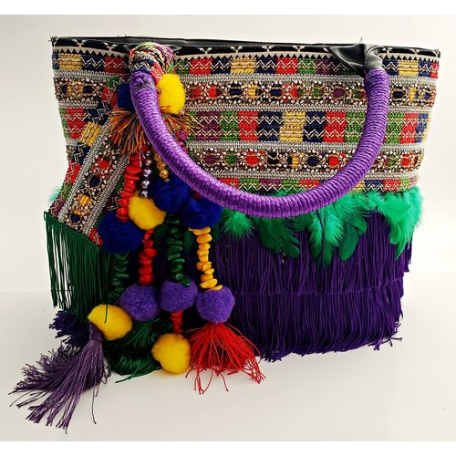 Fiesta Fabric Purse With Purple Handle -20