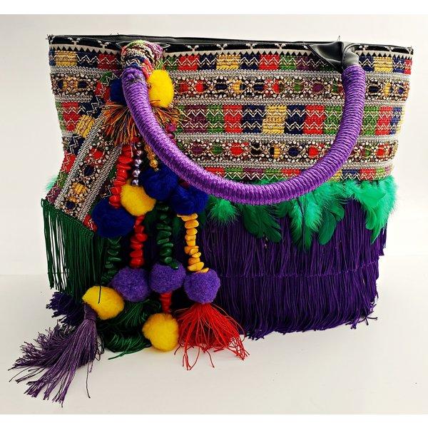 Fiesta Fabric Purse With Purple Handle -20