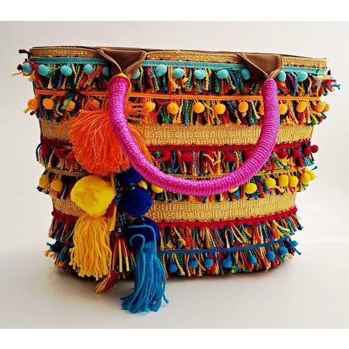 Fiesta Fabric Purse With Pink/Turk Handle -20