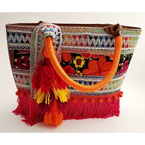 Fiesta Fabric Purse With Orange/ Pink Handle -20