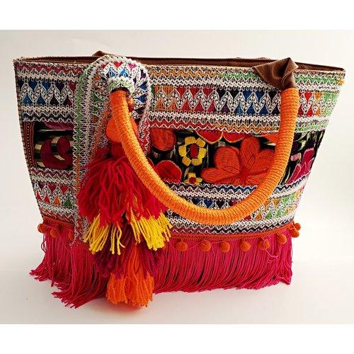 Fiesta Fabric Purse With Orange/ Pink Handle -20