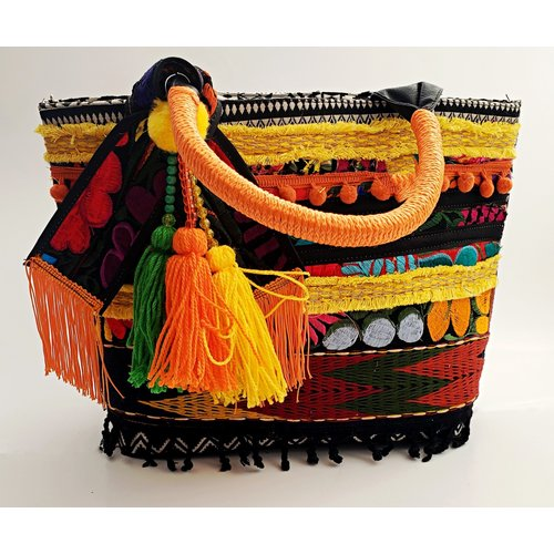 Fiesta Fabric Purse With Orange/ Yellow Handle -20