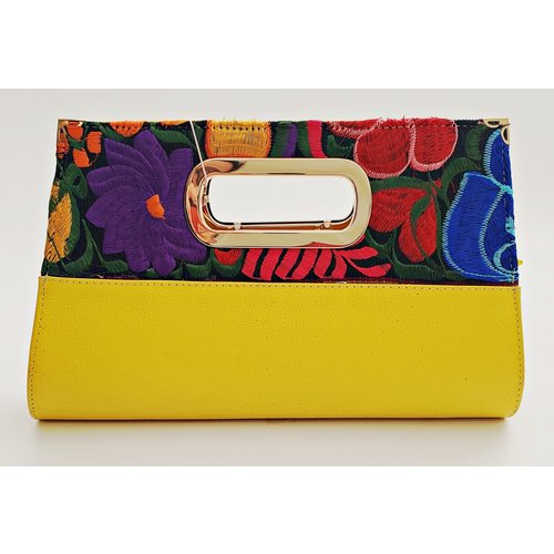 Geniune Leather Yellow Embroidered Clutch-20