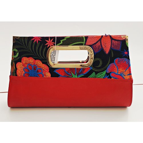 Geniune Leather Red Embroidered Clutch-20