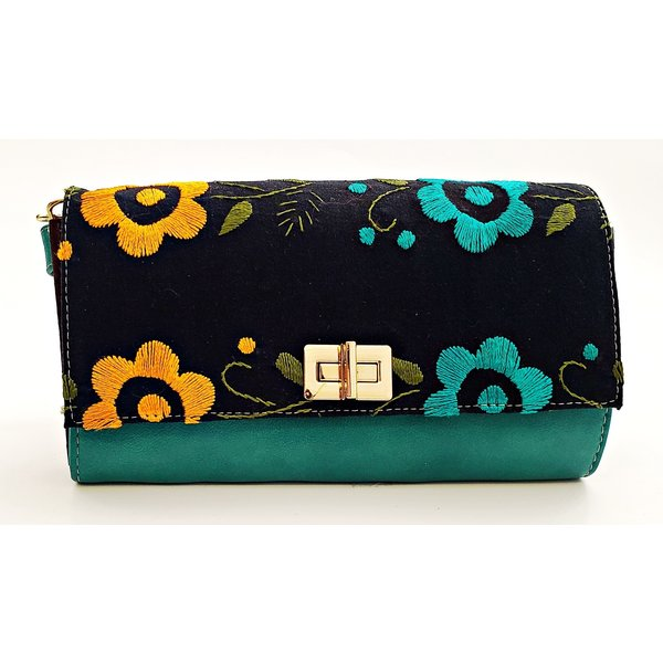 Geniune Leather Green Embroidered Crossbody-20
