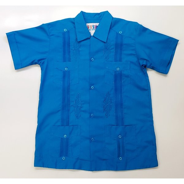 CYAN BLUE- Youth Guayabera
