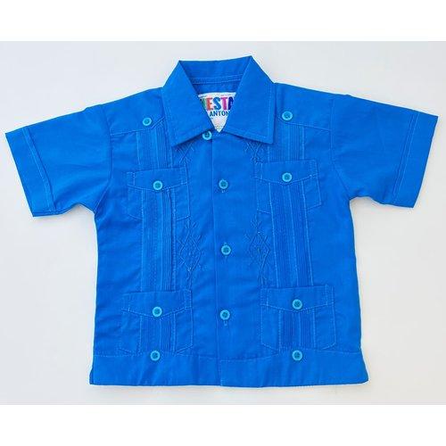 CYAN BLUE- Toddler Guayabera