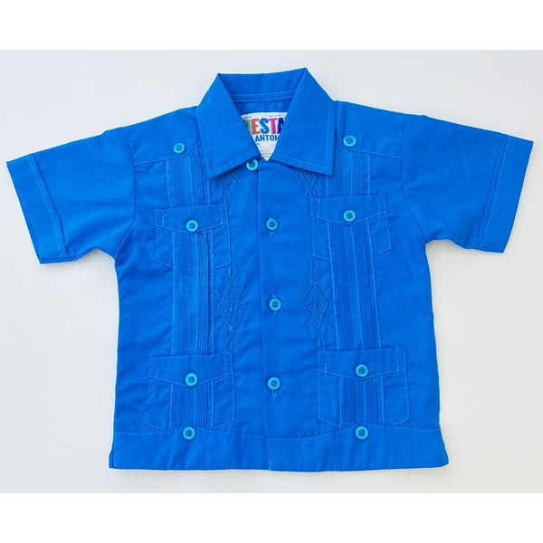 CYAN BLUE- Toddler Guayabera