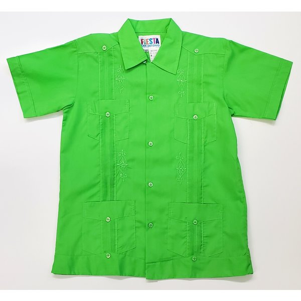 GREEN- Youth Guayabera