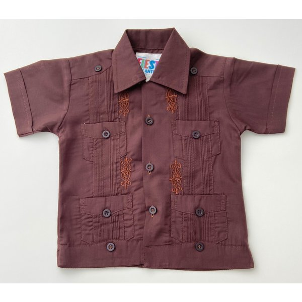 DARK BROWN- Toddler Guayabera