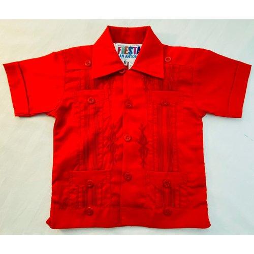 RED- Toddler Guayabera