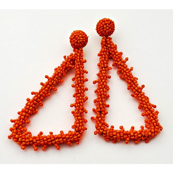 Beaded Triangle Orange Earring-19