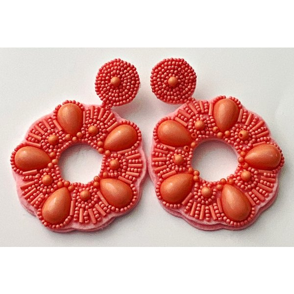 Treasure Jewels Beaded Circle Peach Earrings-20