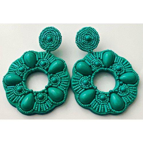 Treasure Jewels Beaded Circle Turquoise Earrings-20