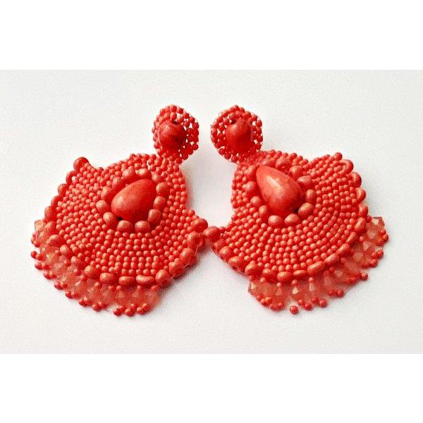 Treasure Jewels Beaded Small Peach Earrings-20