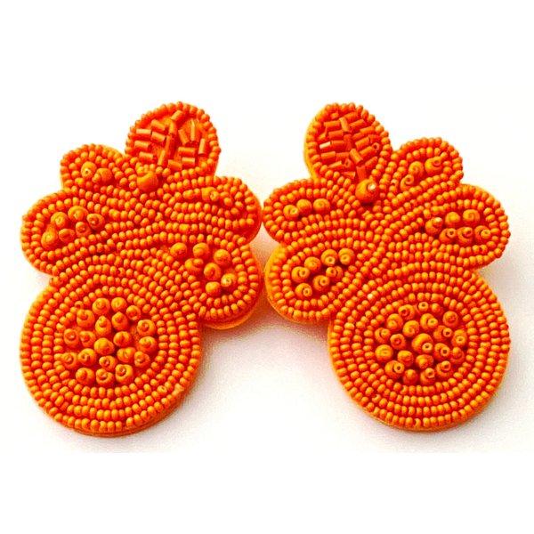 Treasure Jewels Flower Orange Earrings-20