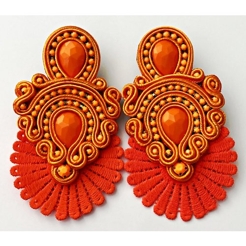 Treasure Jewels Flower Orange Fan Earrings-20