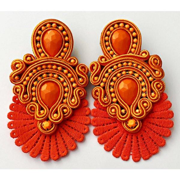 Treasure Jewels Flower Orange Fan Earrings-20