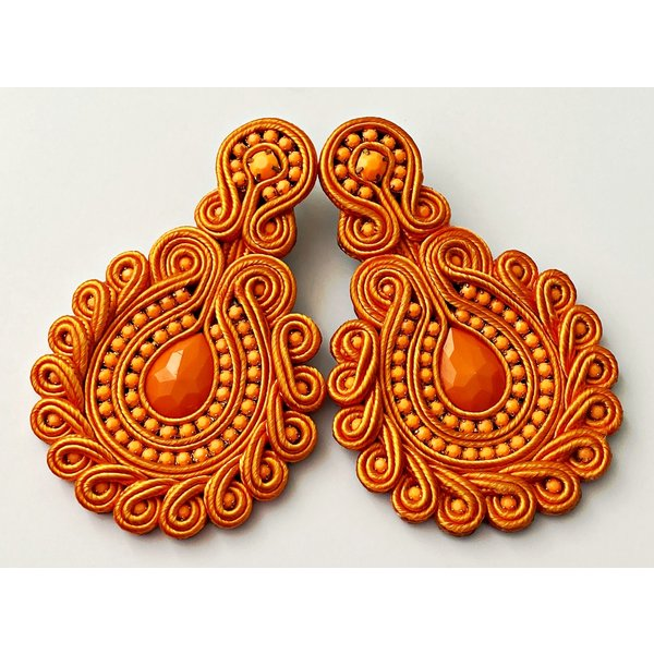 Treasure Jewels Flower Orange Gem Earrings-20