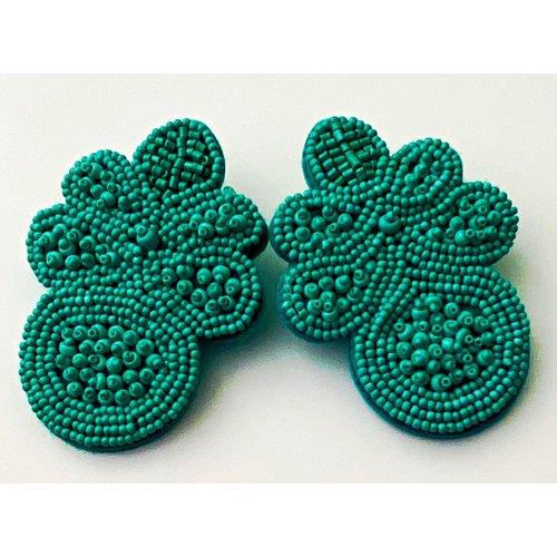 Treasure Jewels Flower Turquoise Beaded Earrings-20