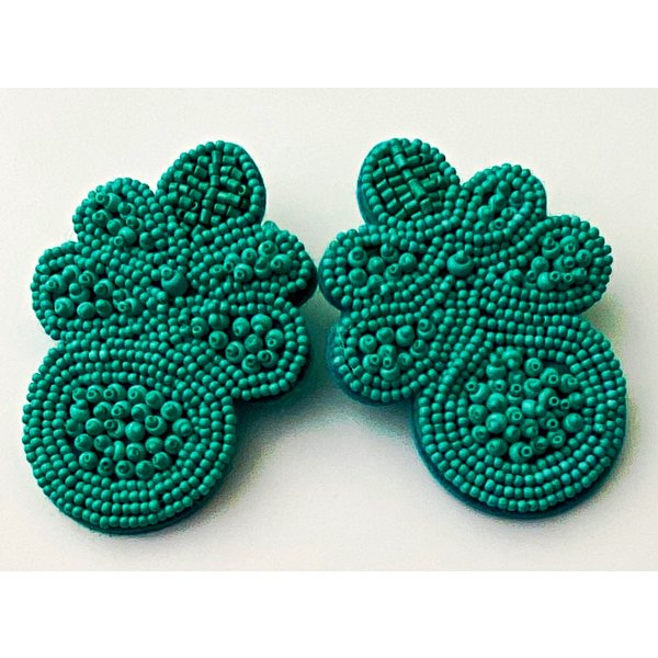 Treasure Jewels Flower Turquoise Beaded Earrings-20