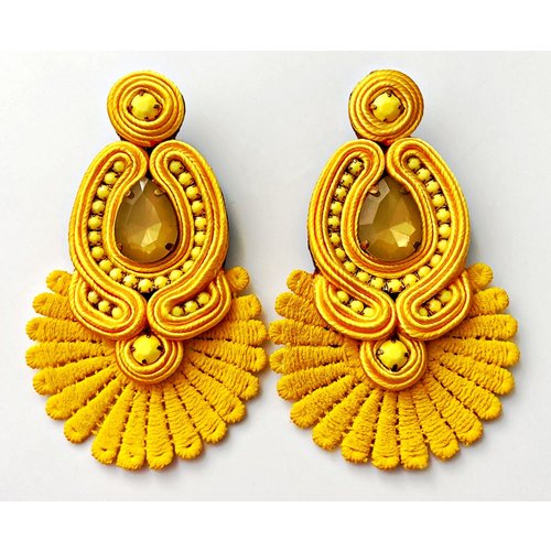 Treasure Jewels Statement Fan Yellow Earrings-20