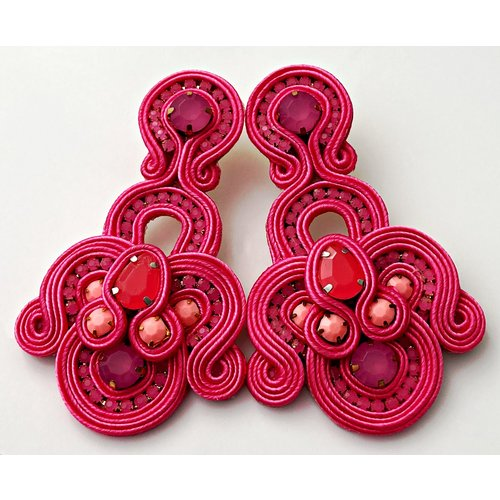 Treasure Jewels Statement Pink Earrings-20