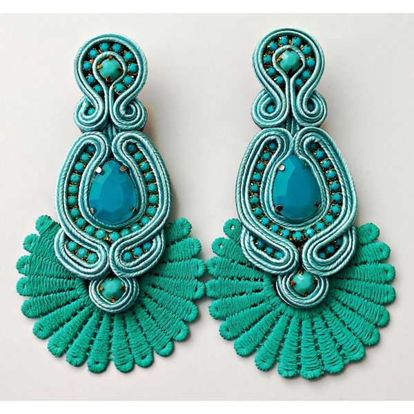 Treasure Jewels Statement Soft Aqua Earrings-20